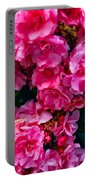 Pink Flowers Green Leaves Portable Battery Charger