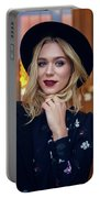 Portrait Of A Girl In Black Clothes And A Hat On The Street In The Evening Portable Battery Charger