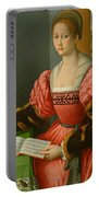 Portrait Of A Woman With A Book Of Music Portable Battery Charger