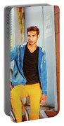 Portrait Of Young Man In New York Portable Battery Charger