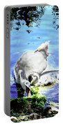Psychedelic Mute Swan And Cygnet Feeding Portable Battery Charger