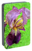 Raindrops On Purple And Yellow Iris Portable Battery Charger