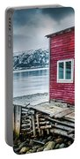 Red Boathouse In Norris Point, Newfoundland Portable Battery Charger