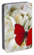 Red Butterfly On White Roses Portable Battery Charger