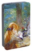 Red-haired Girl Sitting On A Veranda Portable Battery Charger