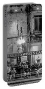 River Street Sweets Candy Store Black White  Portable Battery Charger