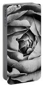 Rose Closeup In Monochrome Portable Battery Charger