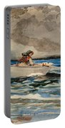 Rowing At Prouts Neck Portable Battery Charger by Winslow Homer