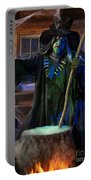 Scary Old Witch With A Cauldron Portable Battery Charger