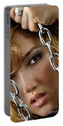 Sensual Woman Face Behind Chains Portable Battery Charger