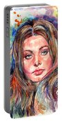 Sophia Loren Painting Portable Battery Charger