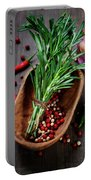 Spices On A Wooden Board Portable Battery Charger