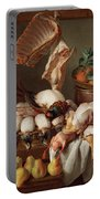 Still Life With Dressed Game, Meat And Fruit Portable Battery Charger