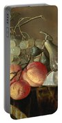Still Life With Fruit And Oysters On A Table Portable Battery Charger