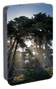 Sunbeams From Large Pine Or Fir Trees On Coast Of San Francisco  Portable Battery Charger