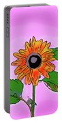 Illustration Of A Sunflower On A Pink Background Portable Battery Charger