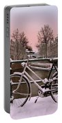 Sunset In Snowy Amsterdam In The Netherlands In Winter Portable Battery Charger
