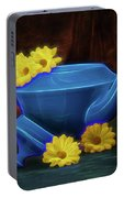 Tea Kettle With Daisies Still Life Portable Battery Charger