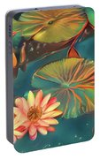Teal Waterlilies 8 Portable Battery Charger