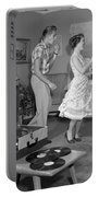 Teen Couple Dancing At Home, C.1950s Portable Battery Charger