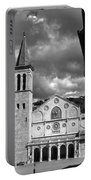 The Facade Of The Duomo With Mosaic And Eight Rose Windows And The Campanile Spoleto Umbria Italy Portable Battery Charger