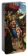 The Madonna And Child With Angels Saints And A Donor Portable Battery Charger