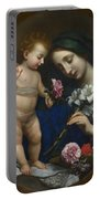 The Virgin And Child With Flowers Portable Battery Charger