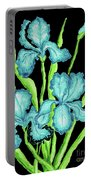 Three  Blue Irises Portable Battery Charger