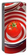 Tomato In Red And White Bowl Portable Battery Charger