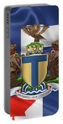 Toronto - Coat Of Arms Over City Of Toronto Flag  Portable Battery Charger by Serge Averbukh