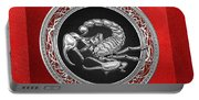 Treasure Trove - Sacred Silver Scorpion On Red Portable Battery Charger