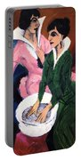 Two Women With A Washbasin Portable Battery Charger