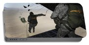U.s. Airmen Jump From A C-130 Hercules Portable Battery Charger