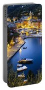 View Of The Harbour At Dusk  Portofino Portable Battery Charger