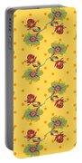 Vintage Wallpaper Seamless Rose Flower Pattern On Circles Polka  Portable Battery Charger