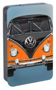 Volkswagen Type 2 - Black And Orange Volkswagen T 1 Samba Bus Over Blue Portable Battery Charger