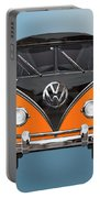 Volkswagen Type 2 - Black And Orange Volkswagen T 1 Samba Bus Over Blue Portable Battery Charger by Serge Averbukh