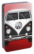 Volkswagen Type 2 - Black And White Volkswagen T 1 Samba Bus On Red  Portable Battery Charger