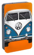 Volkswagen Type 2 - Blue And White Volkswagen T 1 Samba Bus Over Orange Canvas  Portable Battery Charger
