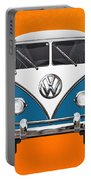 Volkswagen Type 2 - Blue And White Volkswagen T 1 Samba Bus Over Orange Canvas  Portable Battery Charger by Serge Averbukh