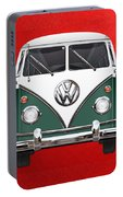 Volkswagen Type 2 - Green And White Volkswagen T 1 Samba Bus Over Red Canvas  Portable Battery Charger