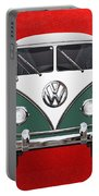 Volkswagen Type 2 - Green And White Volkswagen T 1 Samba Bus Over Red Canvas  Portable Battery Charger by Serge Averbukh
