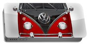 Volkswagen Type 2 - Red And Black Volkswagen T 1 Samba Bus On White  Portable Battery Charger