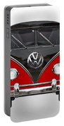 Volkswagen Type 2 - Red And Black Volkswagen T 1 Samba Bus On White  Portable Battery Charger by Serge Averbukh