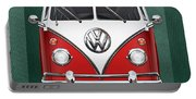 Volkswagen Type 2 - Red And White Volkswagen T 1 Samba Bus Over Green Canvas  Portable Battery Charger