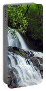 Water Cascading Over Rocky Cliffs Portable Battery Charger