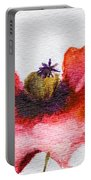 Watercolor Poppy Flower Portable Battery Charger