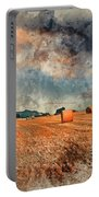 Watercolour Painting Of Beautiful Golden Hour Hay Bales Sunset L Portable Battery Charger