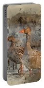 Watercolour Painting Of Beautiful Greylag Goose Anser Anser In W Portable Battery Charger