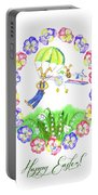 Welcome Spring. Rabbit And Flowers Portable Battery Charger